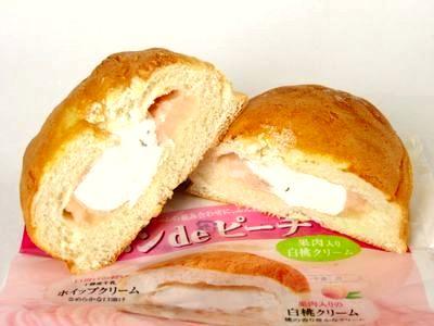 ヤマザキ--パンdeピーチ 果肉入り白桃クリーム。