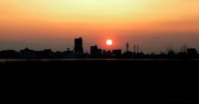 土浦の町の夕焼け