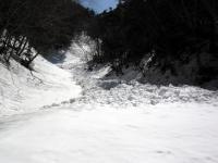 奥白根 雪崩の痕