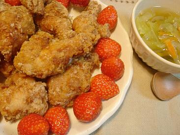 唐揚げ&野菜スープ