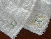 雑巾へ刺繍