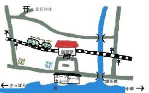 銭函駅 周辺マップ 手描き