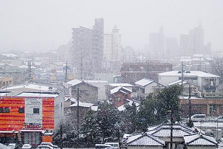 ベランダからの雪風景
