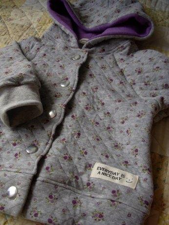 キルトフードジャケット グレー花柄80