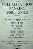 フルマラソン 1歳刻みランキング記録証(2009)