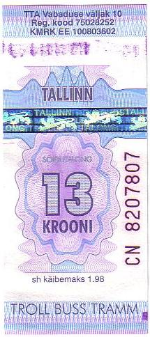 タリン・トラム切符