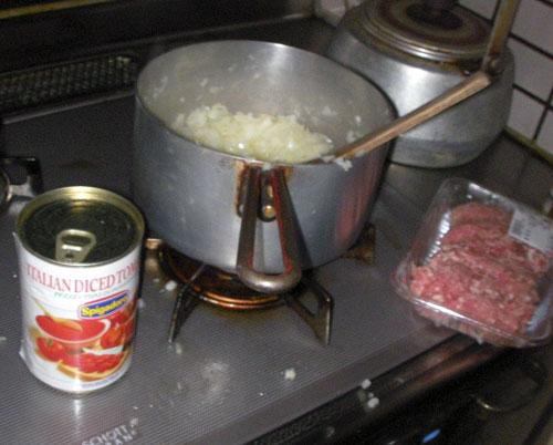 男の料理の途中経過