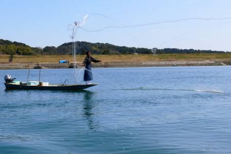 無料四万十川遊覧船からの投げ網漁見学