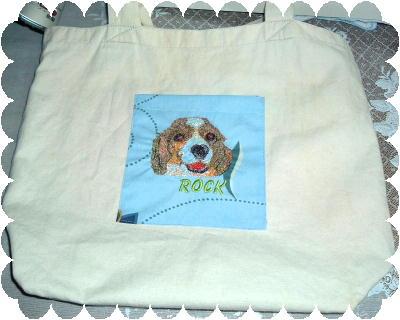 愛犬の刺繍でポケット