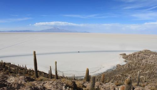 頂上からの塩湖