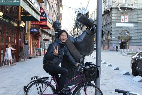 自転車で外