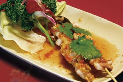 イカの串焼きスパイシーソース(プラムックヤーン)