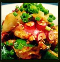 茹でタコとたたききゅうりの韓国風キムチ和え画像