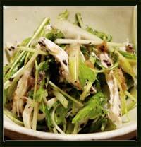 セロリと水菜と蒸し鶏