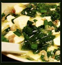 豆腐とニラの中華スープ煮込み