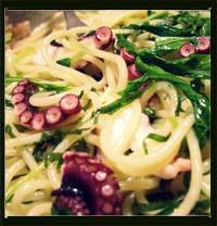 たこと水菜の梅干しアーリオーリオペペロンチーノ