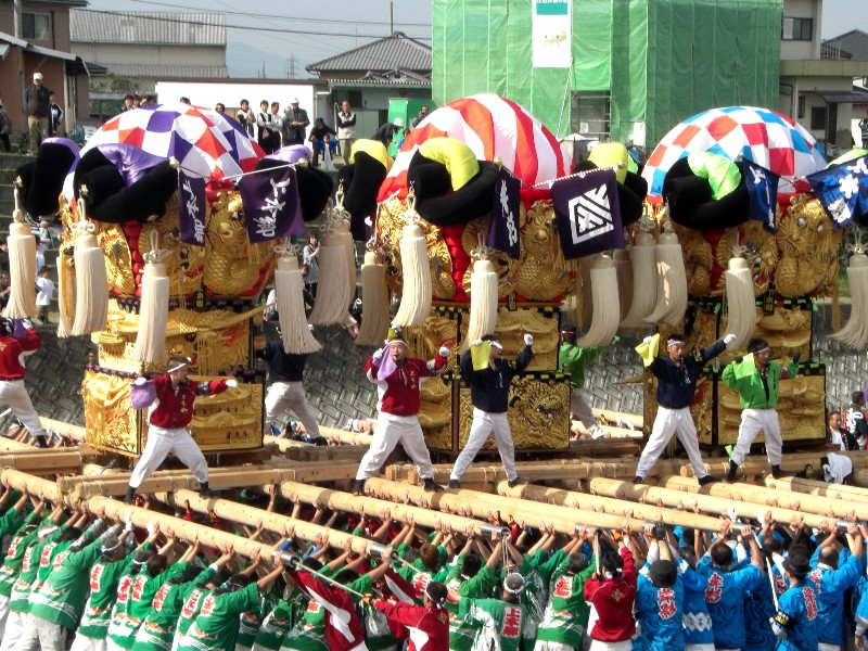 西条祭り 渦井川原 寄せ太鼓