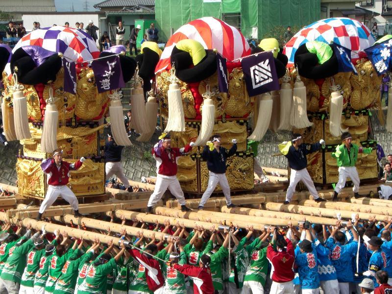 渦井川河原 かき比べ 大生院地区 新居浜太鼓祭り