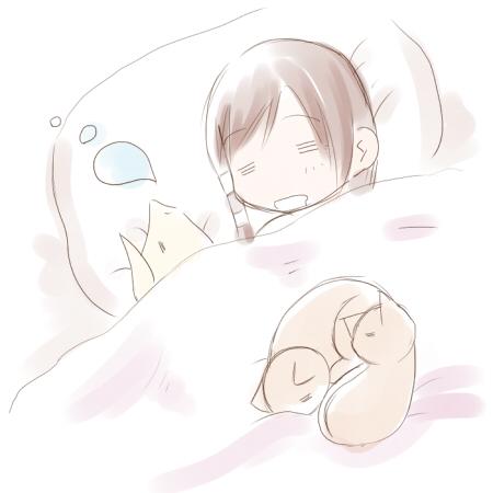 寝る一人と三匹ブログver