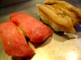 栄寿司(赤身、ミル貝)