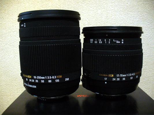 18-250 DC OS と17-70mm DC MACRO