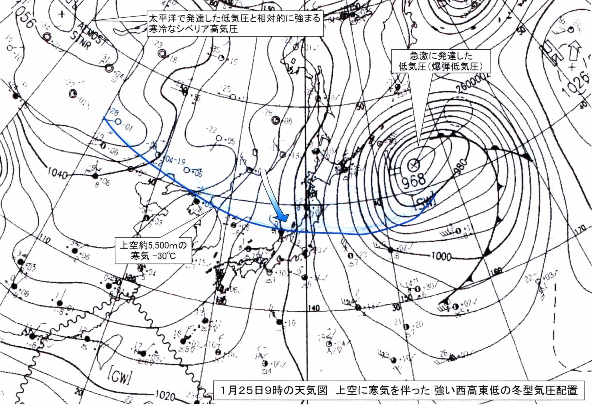 2008年1月25日9時の天気図の説明