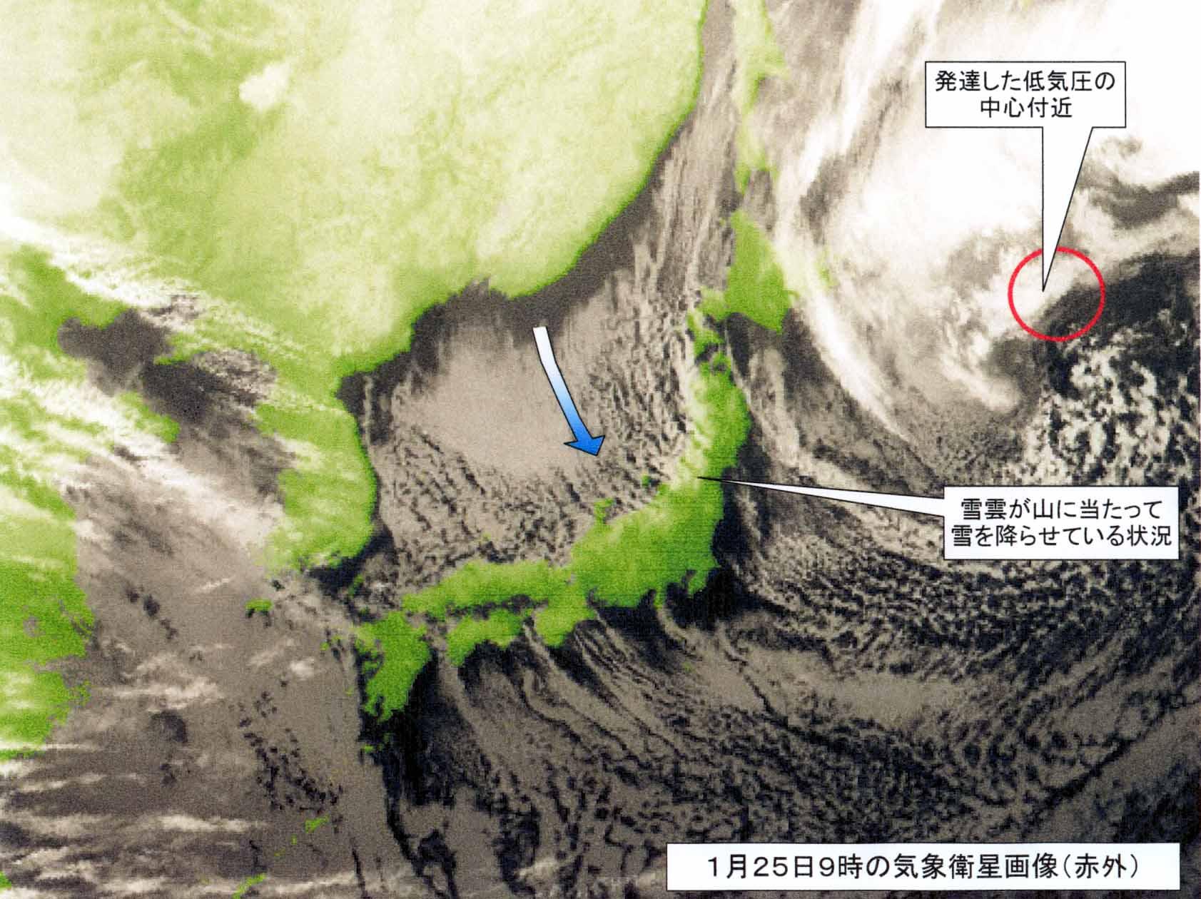 2008年1月25日9時の気象画像説明