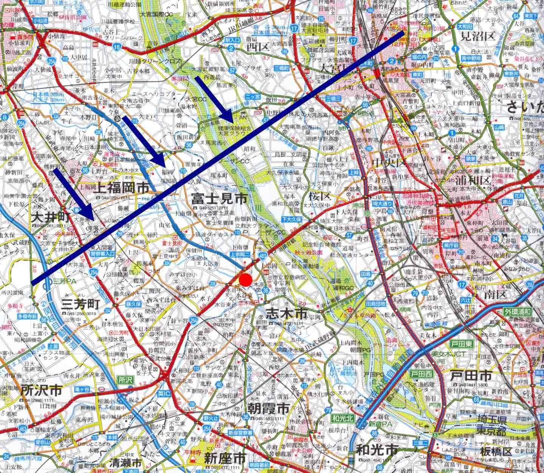 富士見訓練場の位置と前線の寒冷前線の通過イメージ