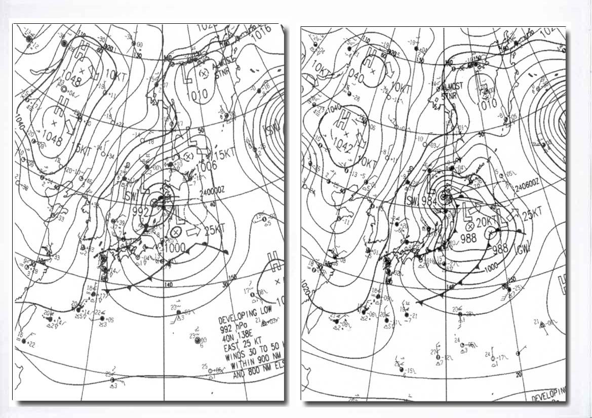 2月23日の地上天気図(9時、15時)