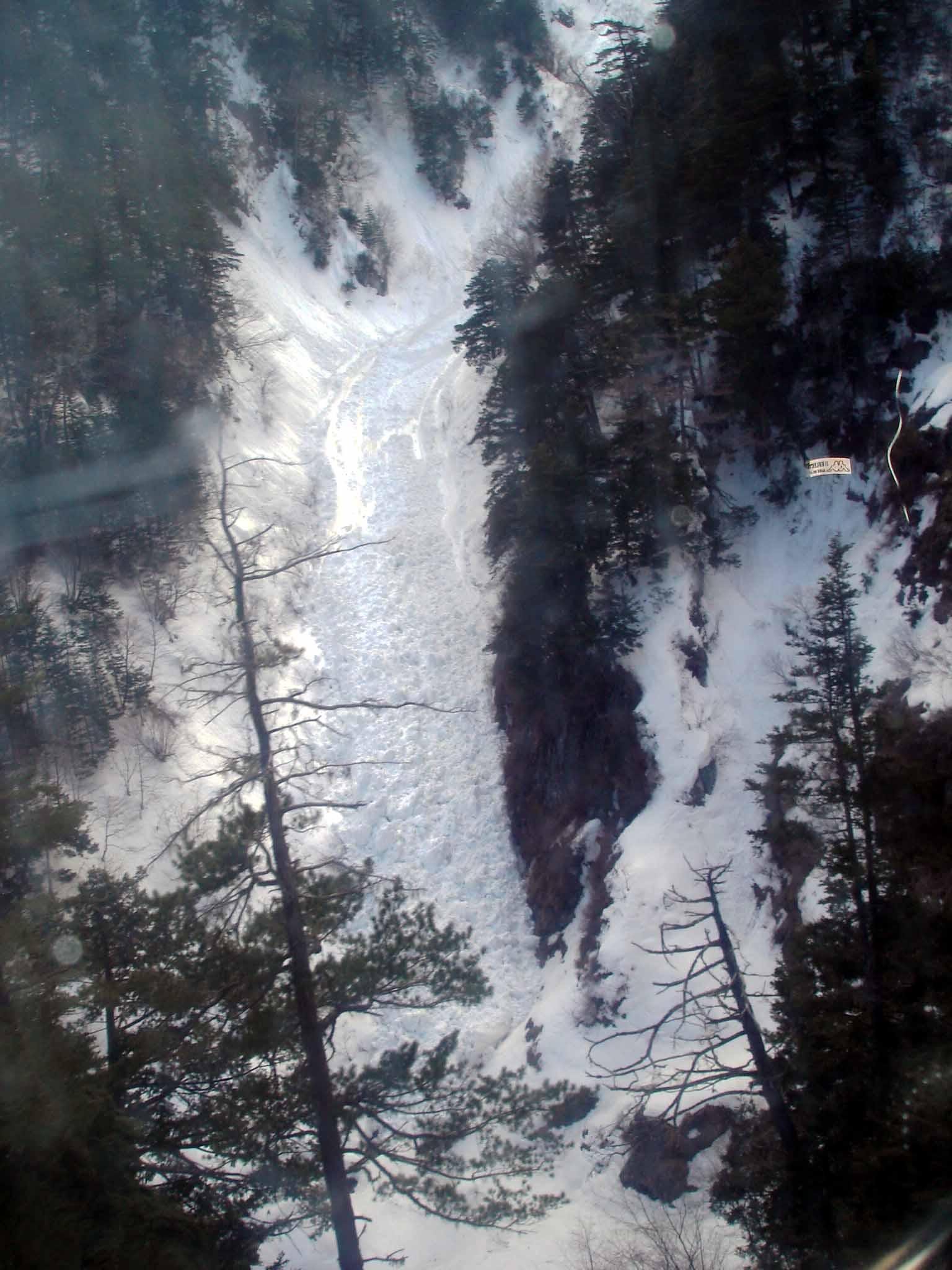 雪崩跡 Dsc00380 ゴンドラから谷あいの雪崩れ跡①(氷河の流れのよう)