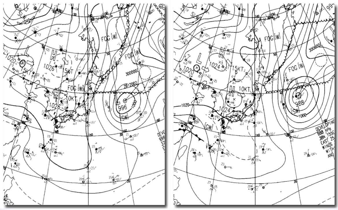 地上天気図 2008032909&15