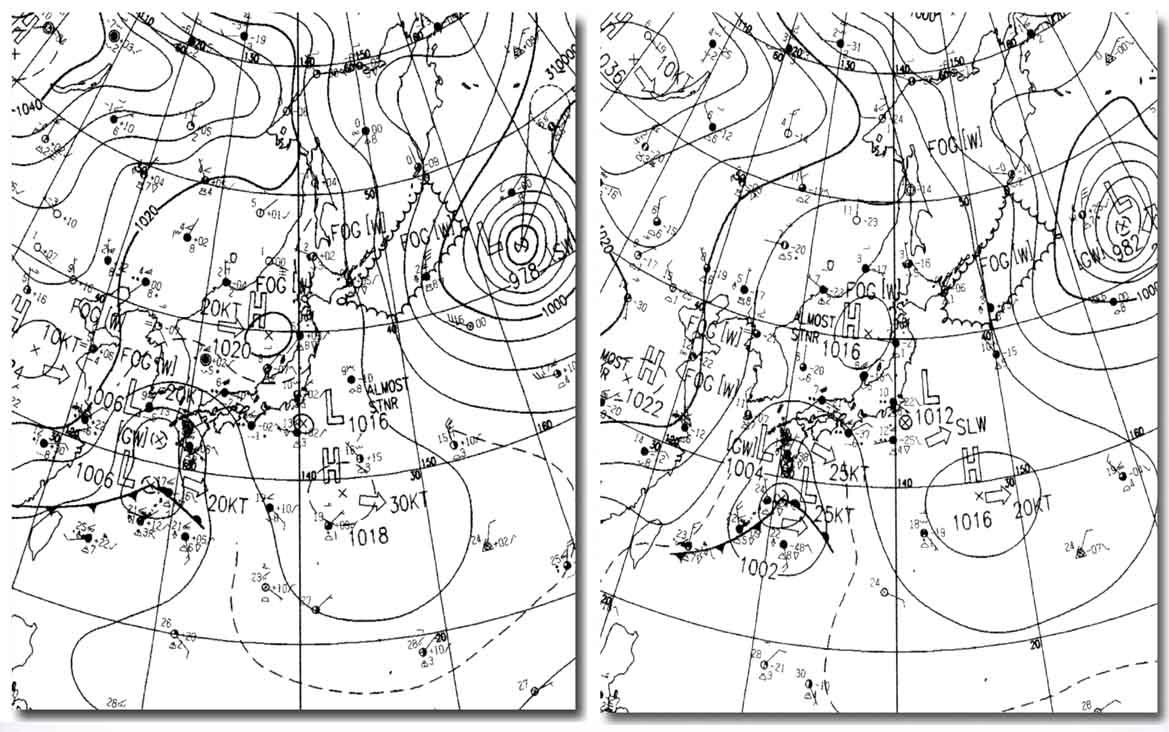 地上天気図 2008033009&15