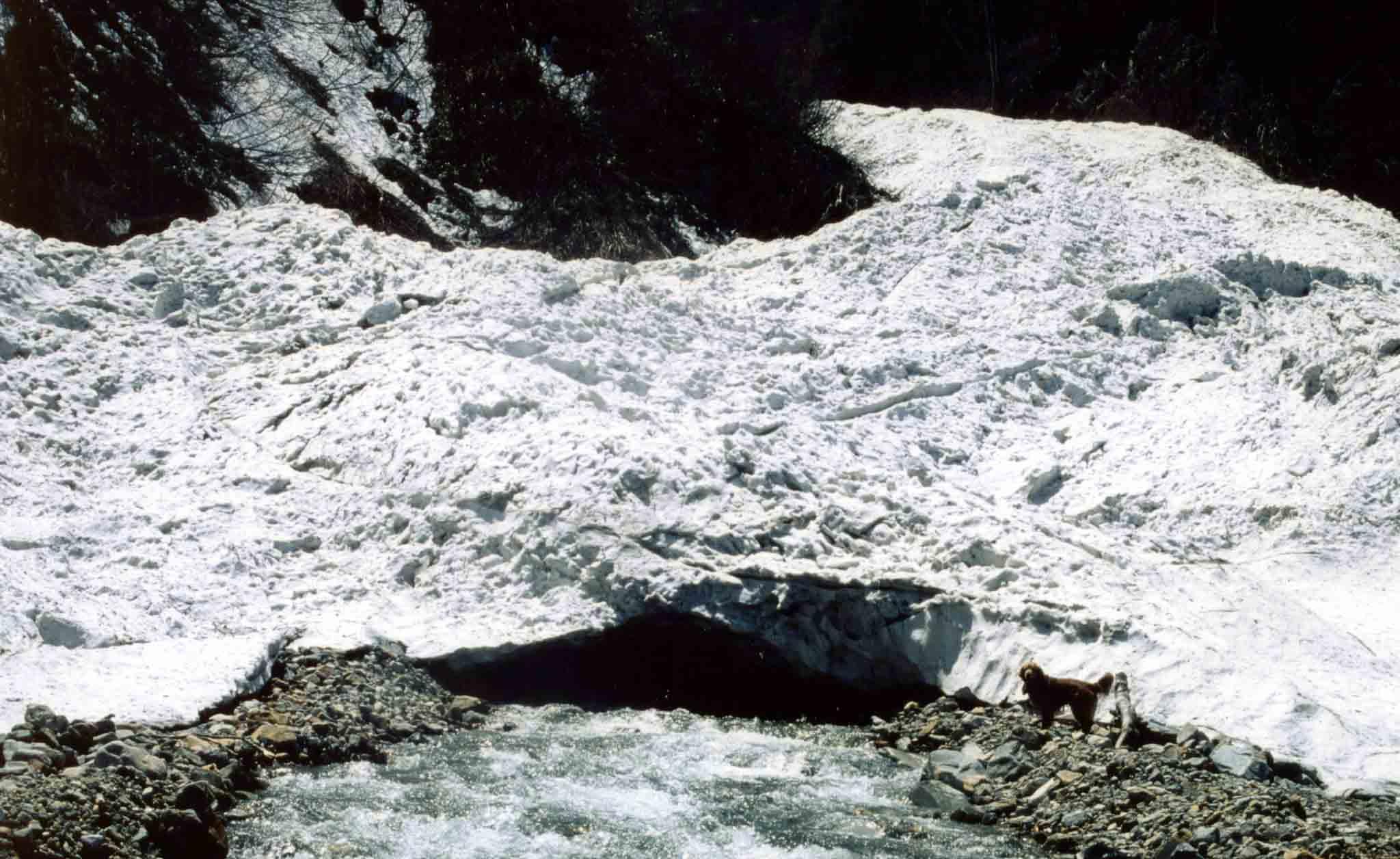雪渓末端の谷間で②