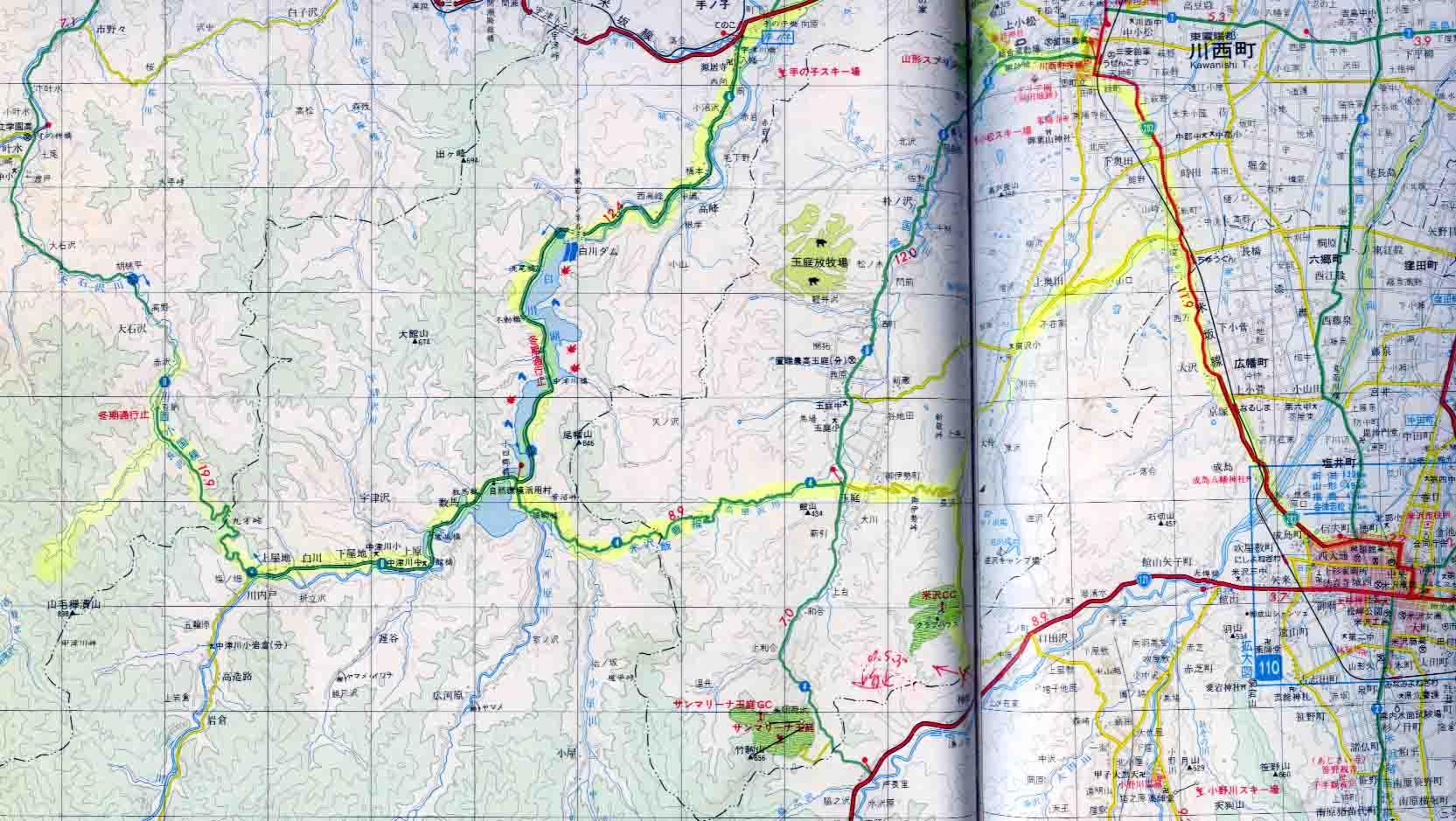 米沢市~捜索地周辺地図(10万分の1)