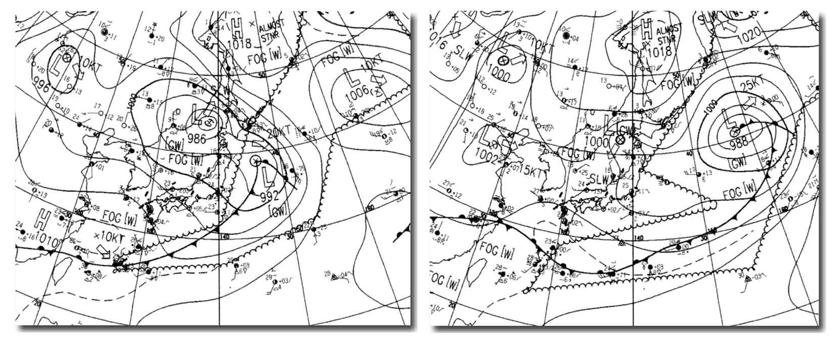 5月26日と27日の地上天気図