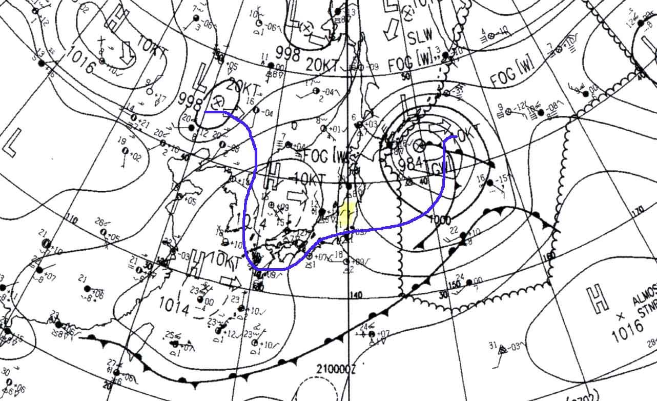5月20日9時の天気図(ASAS)と上空寒気