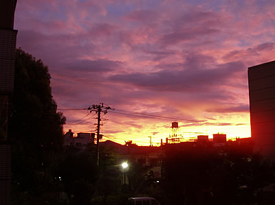大久保の夕焼け