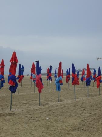 浜辺のパラソル群