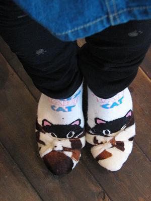 出た!三毛猫靴