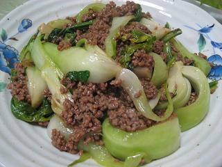 2008.4.23 チンゲン菜とひき肉のあんかけ-2