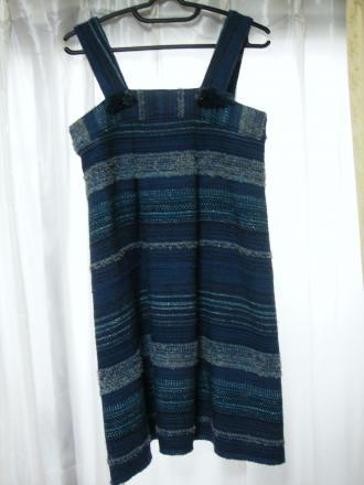 手織りのブルージャンパースカート