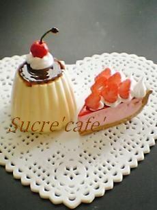 プリンとイチゴケーキ