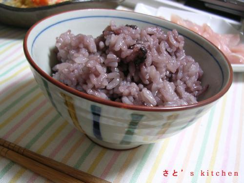 小太郎さんからいただいた黒米入りご飯