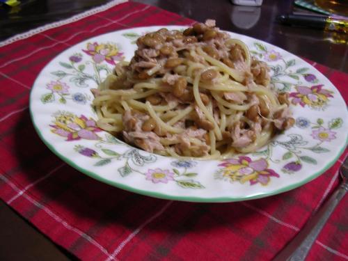 納豆とツナのパスタ