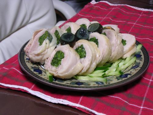 蒸し鶏の菜の花巻