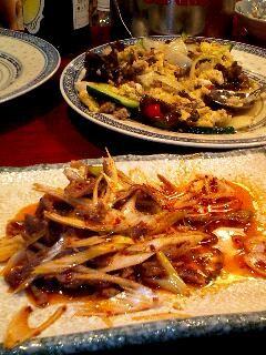 楊の家 ピリカラ砂肝・卵と木耳の炒め