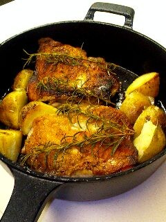 スキレットで作る地鶏のグリル