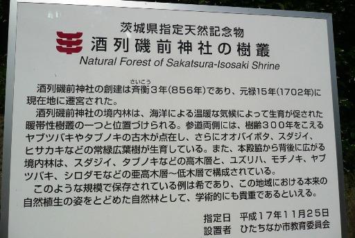 酒列磯崎神社の樹叢の案内
