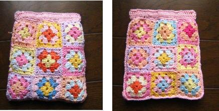 モチーフ編みでぱっくんポーチ