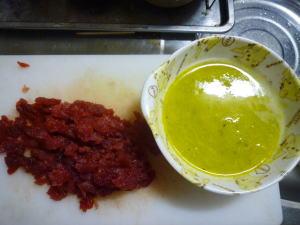 マグロの刺身とホタテのスープ